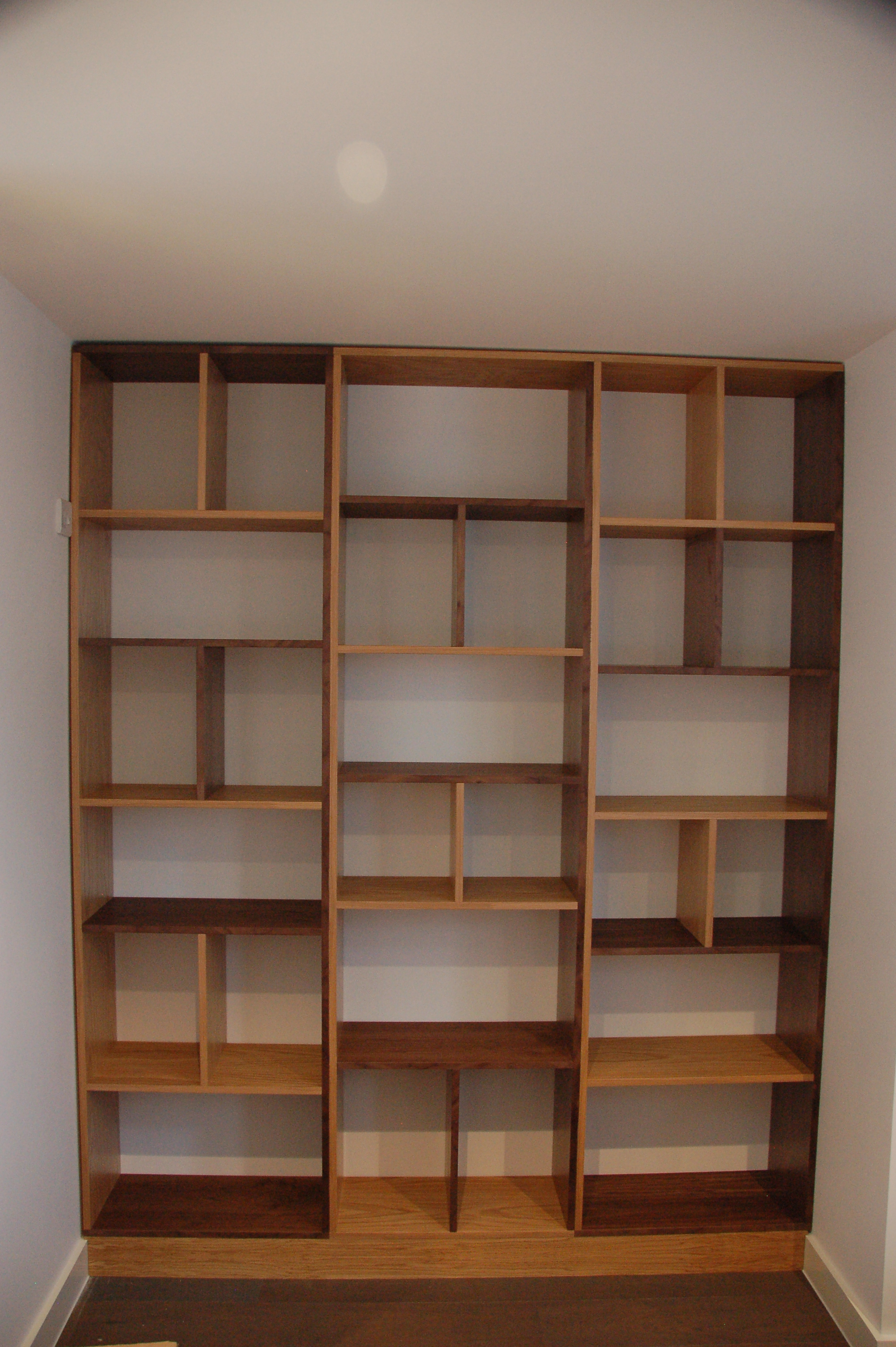 contemporary bookcase made out of oak and walnut  london  - contemporary bookcase made out of oak and walnut