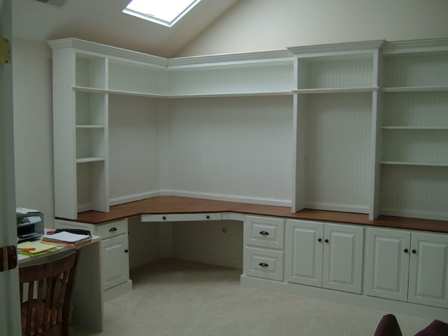 Home office on pinterest home offices built in desk and Built in desk